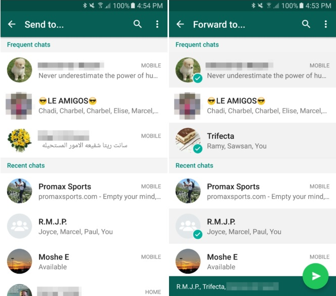 how to forward WhatsApp message to multiple contacts, Groups, recipients