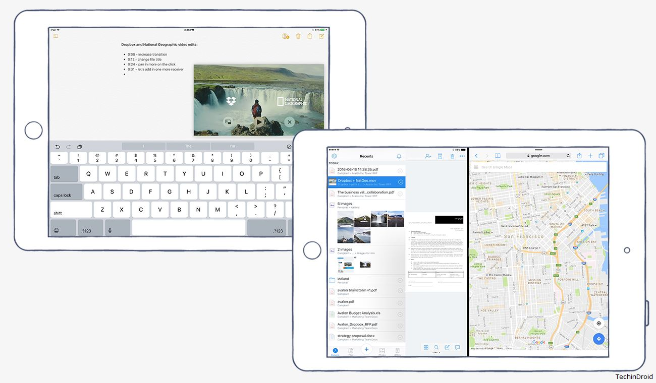 Share the Dropbox screen on iPad