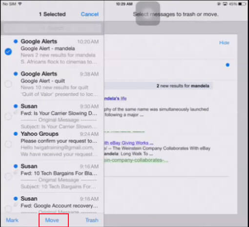 delete emails on iPhone, iPad, or iPod touch