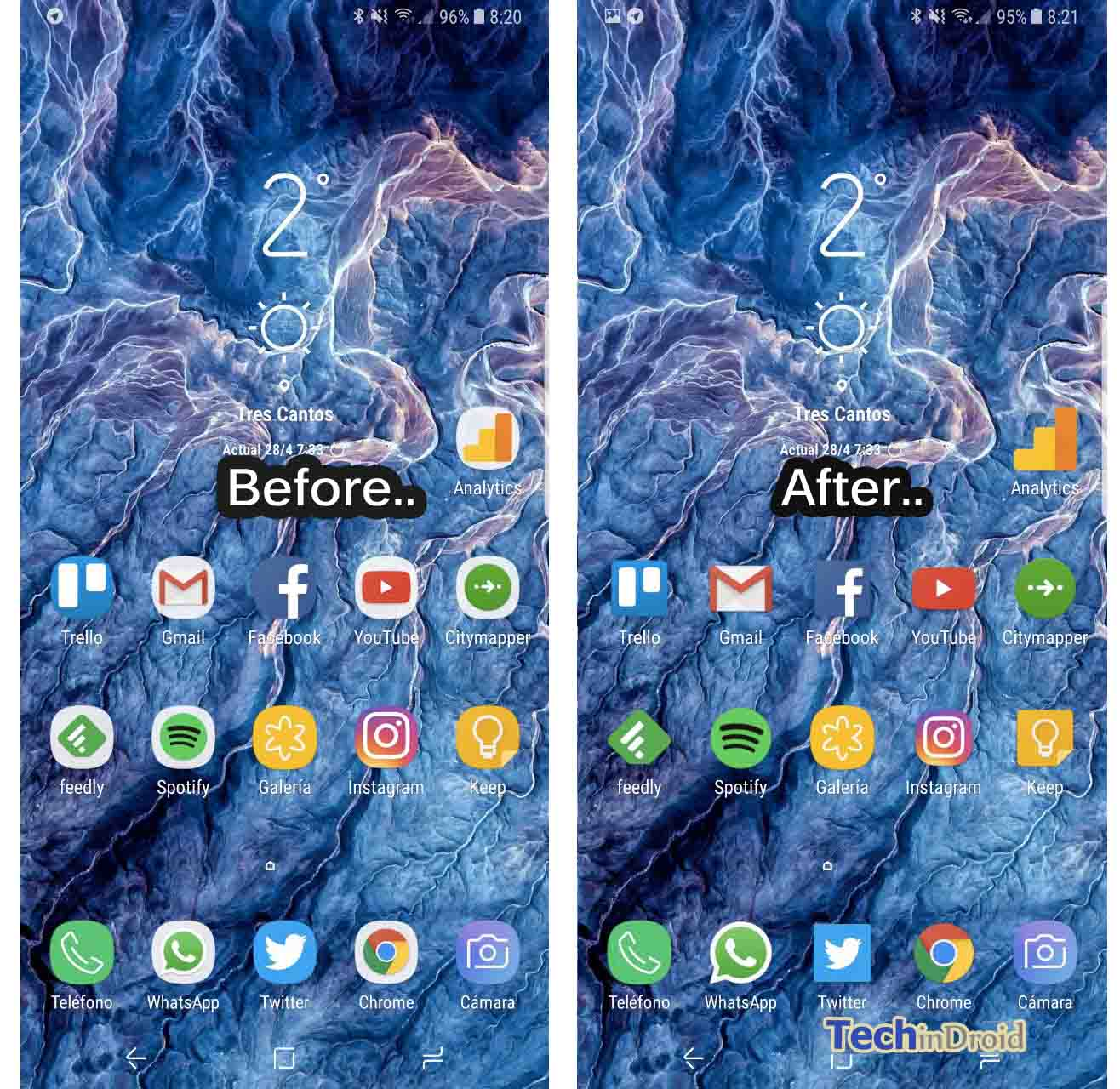 How to Remove icon frames on Galaxy S8 / S8 Plus