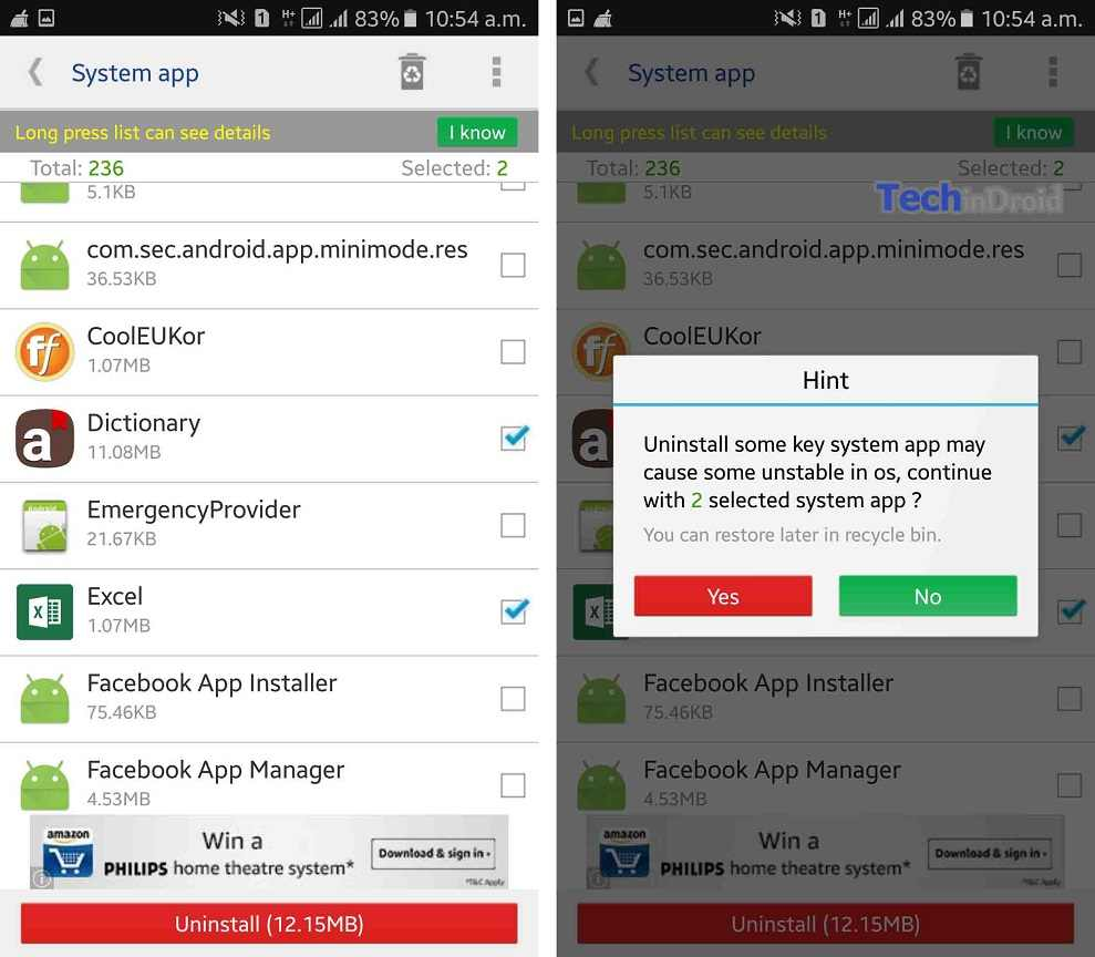 uninstall system apps on android without root