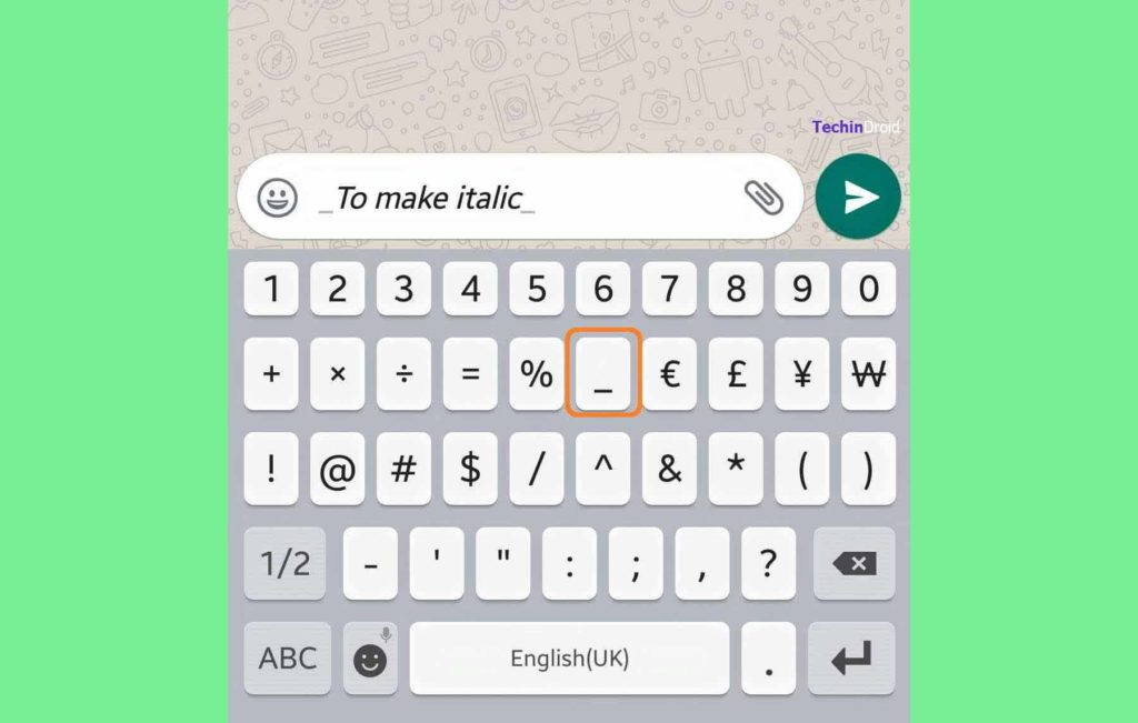 Use italics in WhatsApp