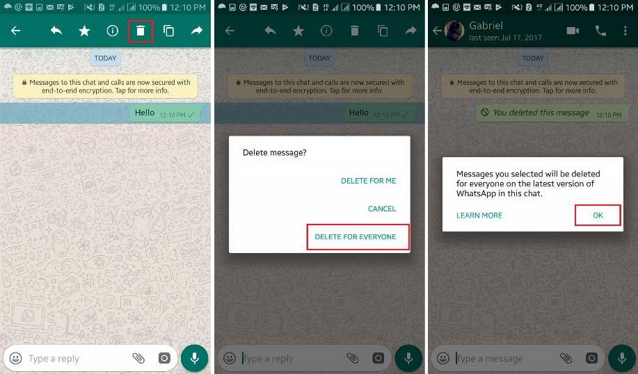 Delete a Sent WhatsApp message if it hasn't been Read