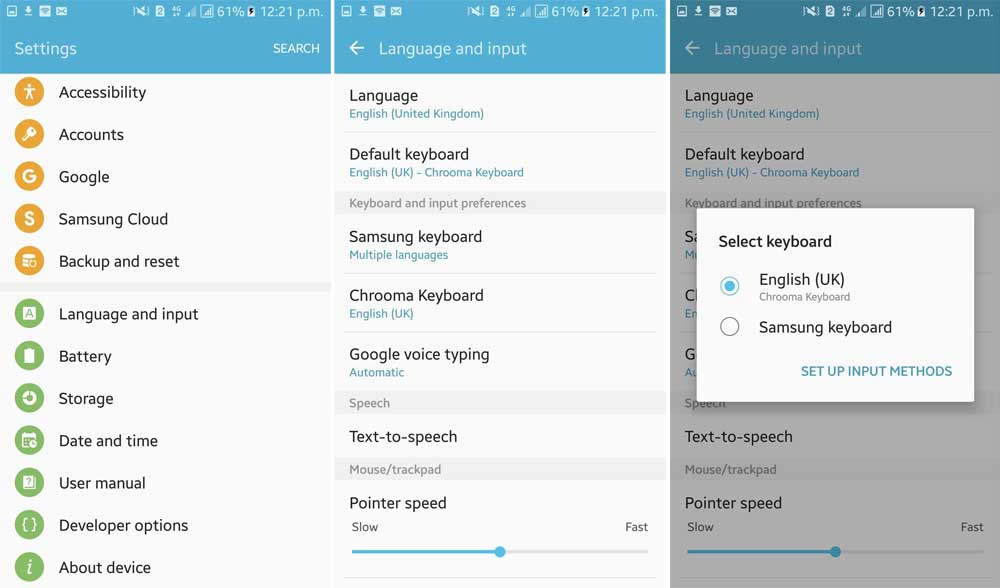 how to change android keyboard