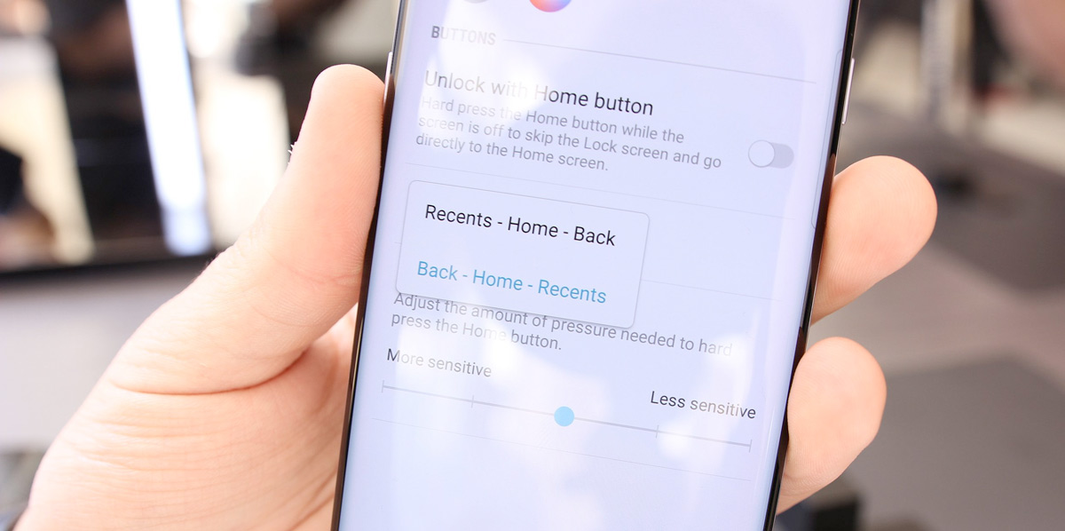 Galaxy s8 Home button settings