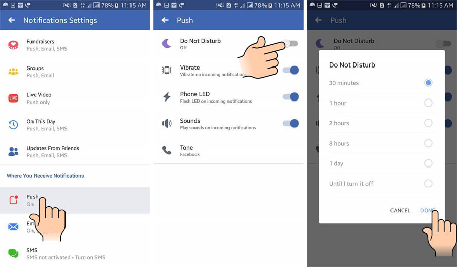 Do not disturb mode Facebook Android