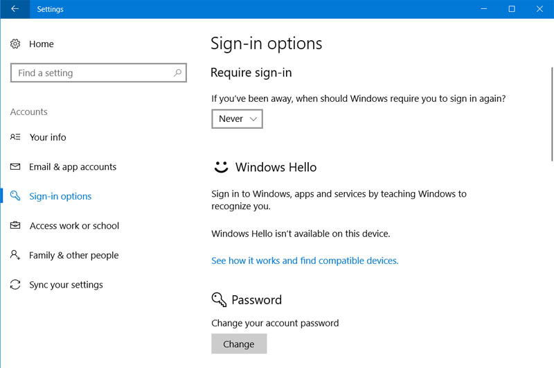 Remove Sign in password from Windows 10