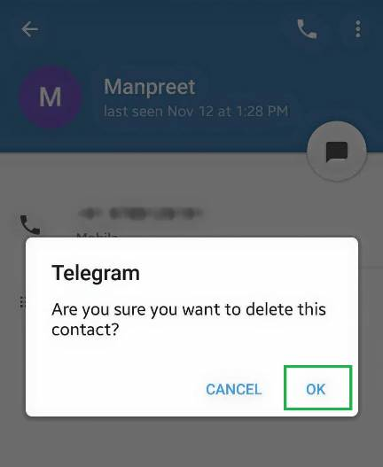 Deleting contacts from telegram