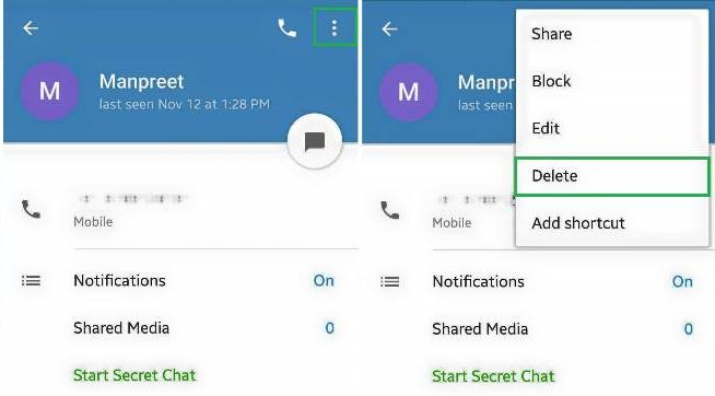How to delete contacts from Telegram