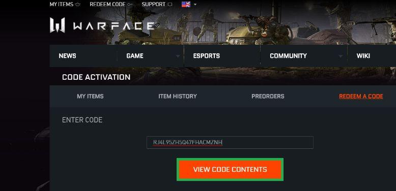 Warface Redeem Code