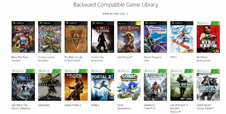 Xbox One Backwards Compatibility