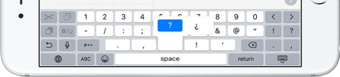 Special characters on iPhone keyboard