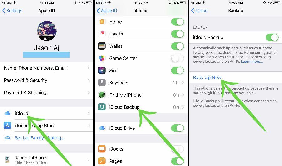 Manually backup iphone to iCloud
