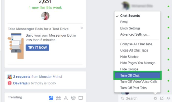 hide chat box on facebook