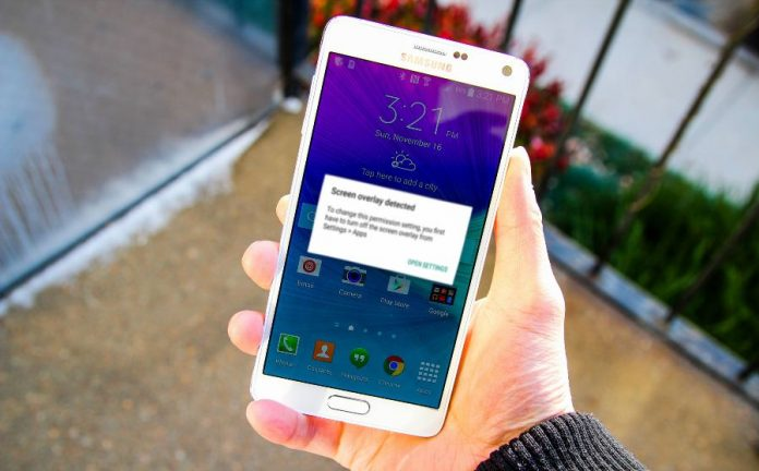 Screen Overlay Detected Samsung Note 4