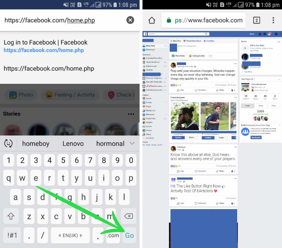 Facebook Desktop View in Phone