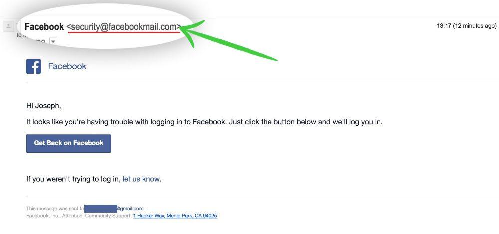 Facebook Scam mail