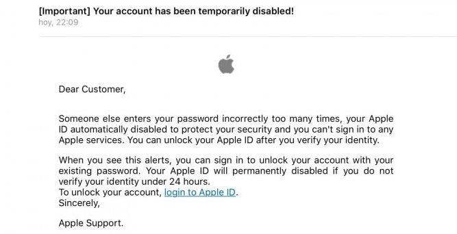 Apple ID has been Disabled email