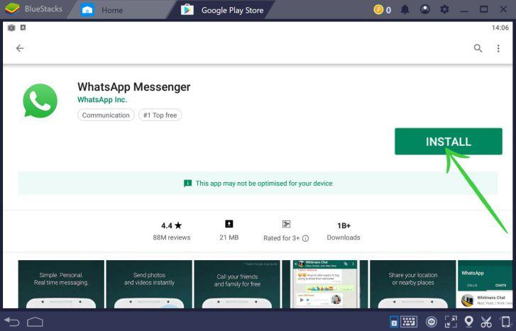 WhatsApp on windows 10 with Bluestacks